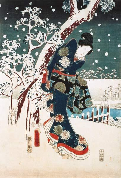 Snow Scene in the Garden of a Daimyo, part of Triptych (silkscreen)