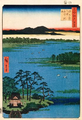 Benten Shrine at the Inokashira Pond. (One Hundred Famous Views of Edo)