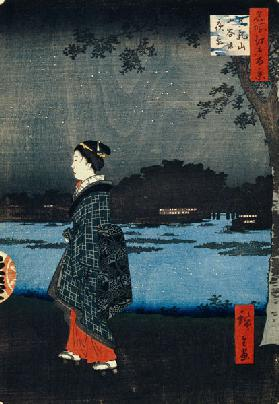 Night View of Matsuchiyama and the San'ya Canal (One Hundred Famous Views of Edo)