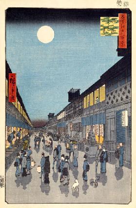 Night view of Saruwaka-machi (One Hundred Famous Views of Edo)