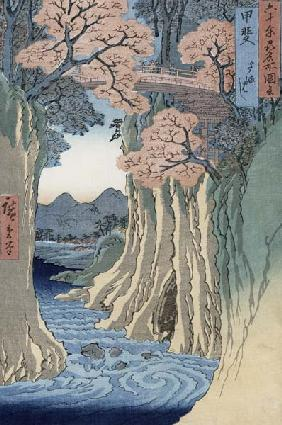 The monkey bridge in the Kai province, from the series 'Rokuju-yoshu Meisho zue' (Famous Places from