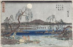Catching Fish by Moonlight on the Tama River, from a series 'Snow, Moon and Flowers' ('Settsu Gekka'