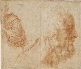 A youth and the head of an old man (Homer?). Study