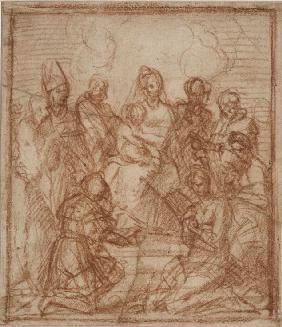 Enthroned Madonna with Child and eight saints (Composition study)