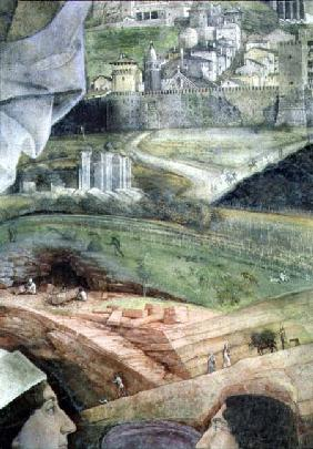 Arrival of Cardinal Francesco Gonzaga; detail of the background showing an idealised view of Rome, f