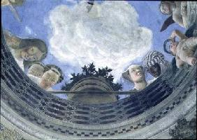 Trompe l'oeil oculus in the centre of the vaulted ceiling of the Camera degli Sposi or the Camera Pi