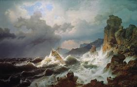 A sea storm off Norwegian coast