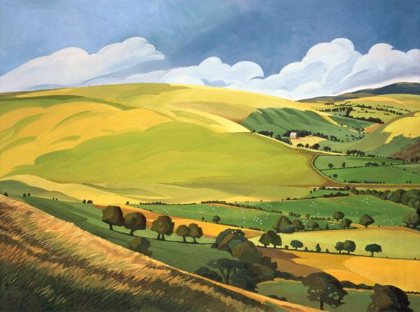 Small Green Valley, Wales (oil on canvas)