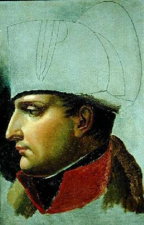 Unfinished Portrait of Napoleon I (1769-1821) formerly attributed to Jacques Louis David (1748-1825)