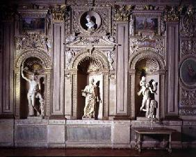 The 'Galleria Carracci', detail of the gilded stuccoed wall decoration with niches containing marble