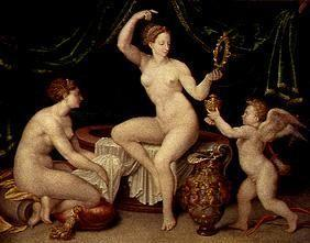 Venus looks at herself after the bath in the mirror, hands Amor the ointment saucepan