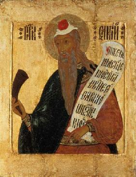 Russian icon of the Prophet Samuel with a horn and an open scroll