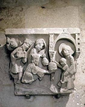Column capital depicting the Adoration of the Magi
