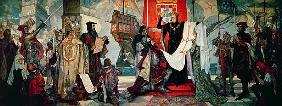 Departure for the Cape, King Manuel I of Portugal blessing Vasco da Gama and his expedition, c.1935