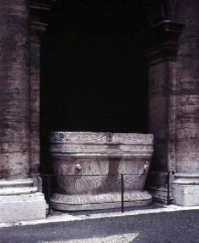 The inner courtyard detail of the original sarcophagus from the tomb of Cecilia Metella