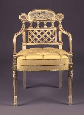 Recency armchair, cream-painted,parcel-gilt frame with grisaille painting of cherubs on oval tablet