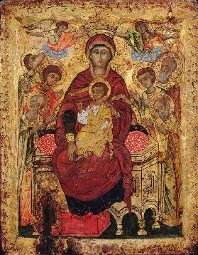 Madonna and Child enthroned with SaintsGreek Islands icon