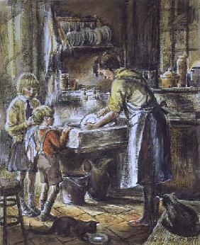 Helping with the Washing Up, 1975 (w/c and crayon)