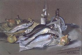 Herring and a Whiting, 1971 (pastel)