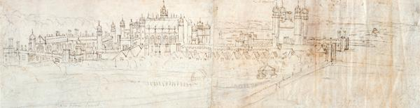 View of Hampton Court from the North, from 'The Panorama of London'