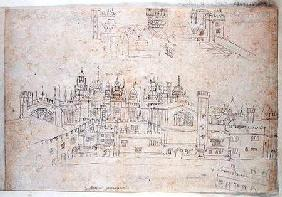 Studies of Palace of Oatlands and Hampton Court, from 'The Panorama of London'