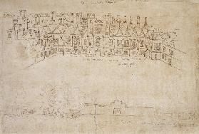 Inner Courtyard and Outer Wall of Oatlands, Richmond Palace  and