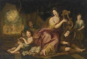 Allegory of Music. Portrait of Madame de Maintenon (1635-1719), with the Natural Children of Louis X