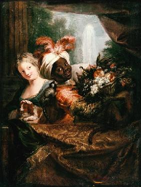 Young Black Man Holding a Basket of Fruit and a Young Girl Stroking a Dog