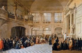 Louis XIV receiving the oath of the Marquis De Dangeau, Grand Master of the Order of Saint Lazare in