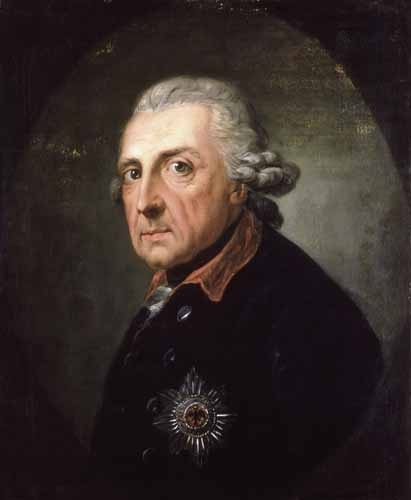 Portrait of Frederick the Great at the age of 68.