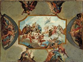 Reverence to Johann Wilhelm, Elector Palatine. Design for a Ceiling Painting for Bensberg Castle