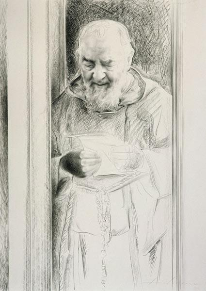 Padre Pio, 1988-89 (charcoal on paper)