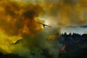 Canadair aircraft in action - fighting for the salvation of the forest.