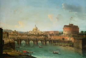 View of Rome with the Tiber, the angel castle and piece of Peter
