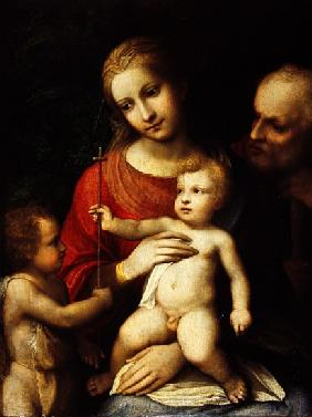 The Virgin and Child surrounded St John the Baptist and St Joseph