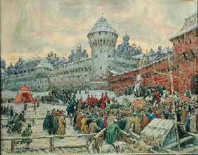 Ancient Moscow, departure after a fisticuffs