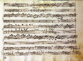 Manuscript page from the score of Opus V, ''Sonata for violin, violone, and harpsichord''