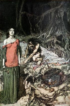 "The wooing of Grimhilde, the mother of Hagen. Illustration for ""Siegfried and The Twilight of the Go"
