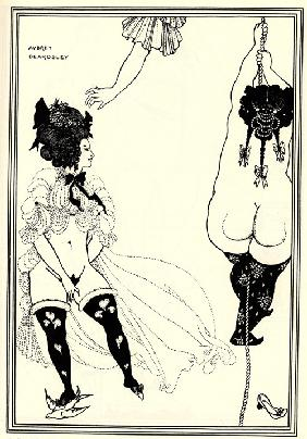 Two Athenian women in distress. Illustration for The Lysistrata of Aristophanes