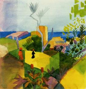 Macke, August : Landscape by the sea