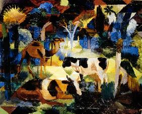 Landscape with cows and camel 1914
