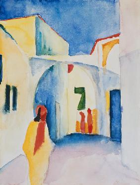 Glance down on Alley, Tunis 1914