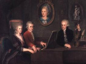 Portrait of Leopold Mozart (1719-87) and his Children, Wolfgang Amadeus (1756-91) and Maria Anna (17