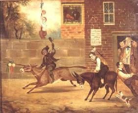 A Donkey Race outside the Cock and Bottle Inn