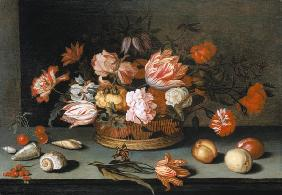 Quiet life with flowers, fruits, mussels and butterfly