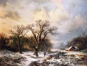 Winter landscape with ice-skaters and brushwood collectors