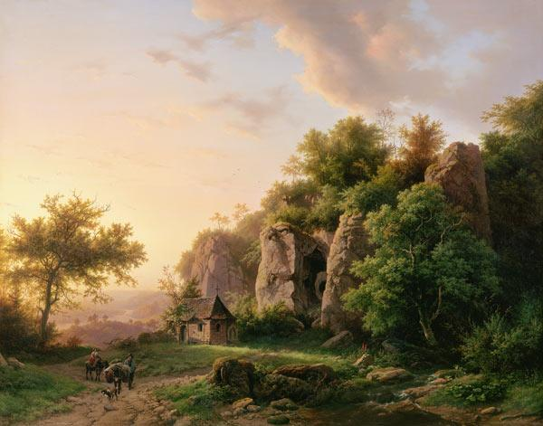 Koekkoek, Barend Cornelisz. : Rock landscape with chapel