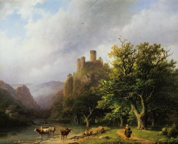 Koekkoek, Barend Cornelisz. : Riverside with castle ruin