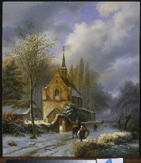 Koekkoek, Barend Cornelisz. : Winter landscape at a chur...