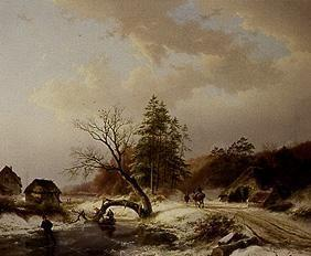 Winter landscape with brushwood collectors